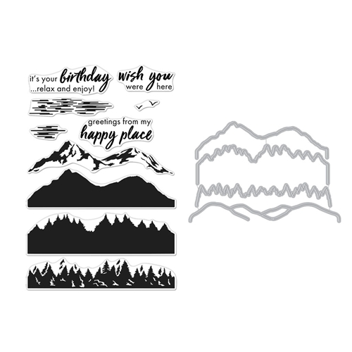 Hero Arts Color Layering MOUNTAINS AT THE LAKE CLEAR STAMP & DIE COMBO SB255 Preview Image