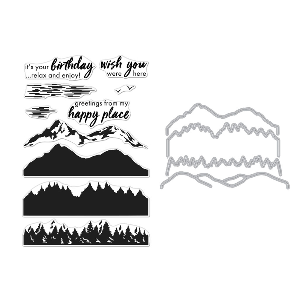 Hero Arts Color Layering MOUNTAINS AT THE LAKE CLEAR STAMP & DIE COMBO SB255 zoom image