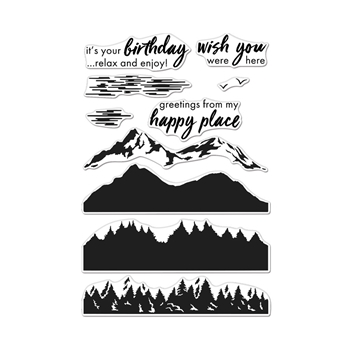 Hero Arts Clear Stamps Color Layering MOUNTAINS AT THE LAKE CM423