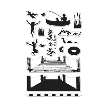Hero Arts Clear Stamps Color Layering PIER AT THE LAKE CM424