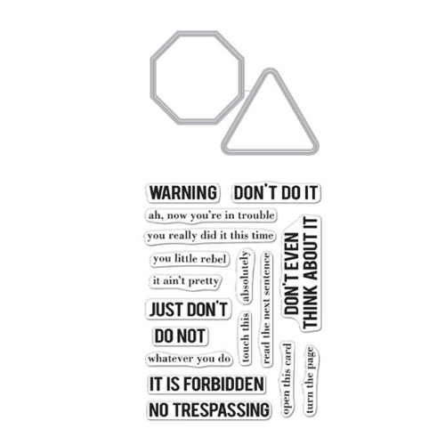 Hero Arts Stamp And Cuts NO TRESPASSING Coordinating Set DC275 Preview Image