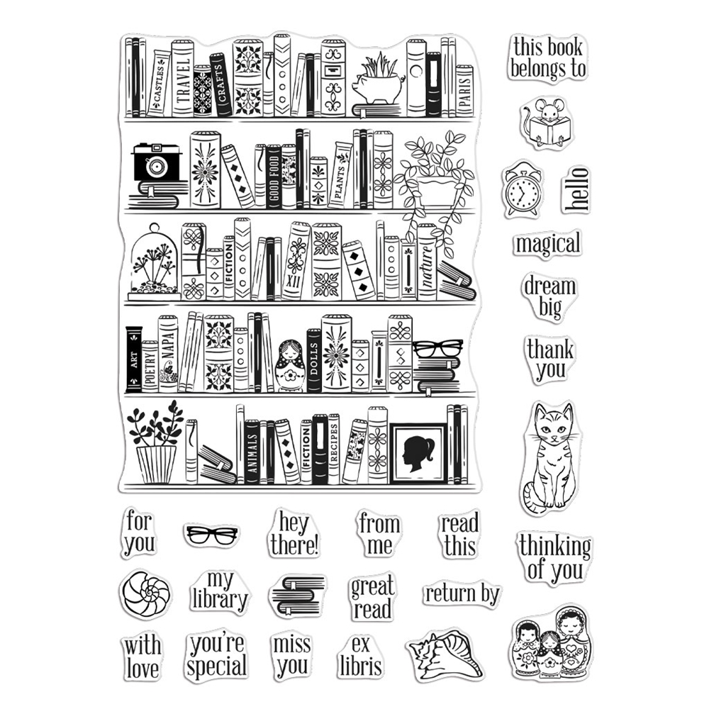 Hero Arts Clear Stamps BOOKCASE PEEK A BOO PARTS CM425 zoom image