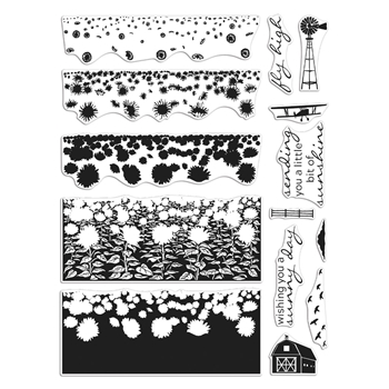 RESERVE Hero Arts Clear Stamps SUNFLOWER FIELDS HEROSCAPES CM411