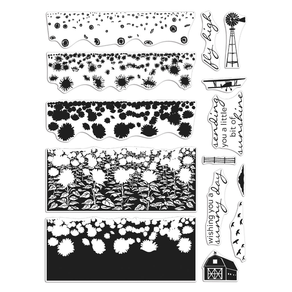Hero Arts Clear Stamps SUNFLOWER FIELDS HEROSCAPES CM411 zoom image