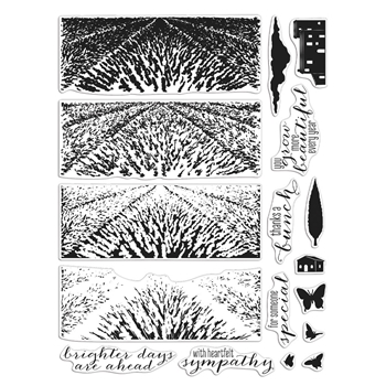 Hero Arts Clear Stamps LAVENDER FIELD HEROSCAPE CM410