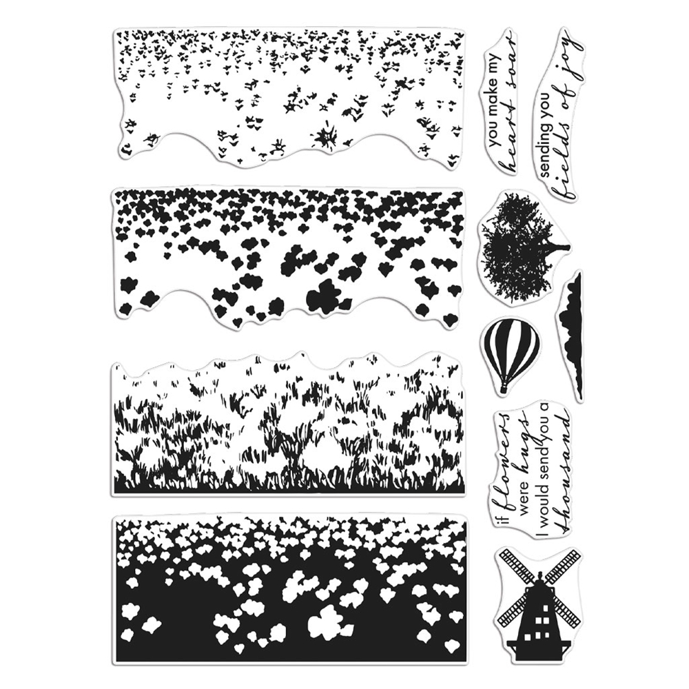 Hero Arts Clear Stamps TULIP FIELD HEROSCAPE CM412 zoom image