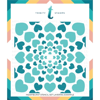 Trinity Stamps HEARTBURST 6 x 6 Stencil Set of 2 tss007