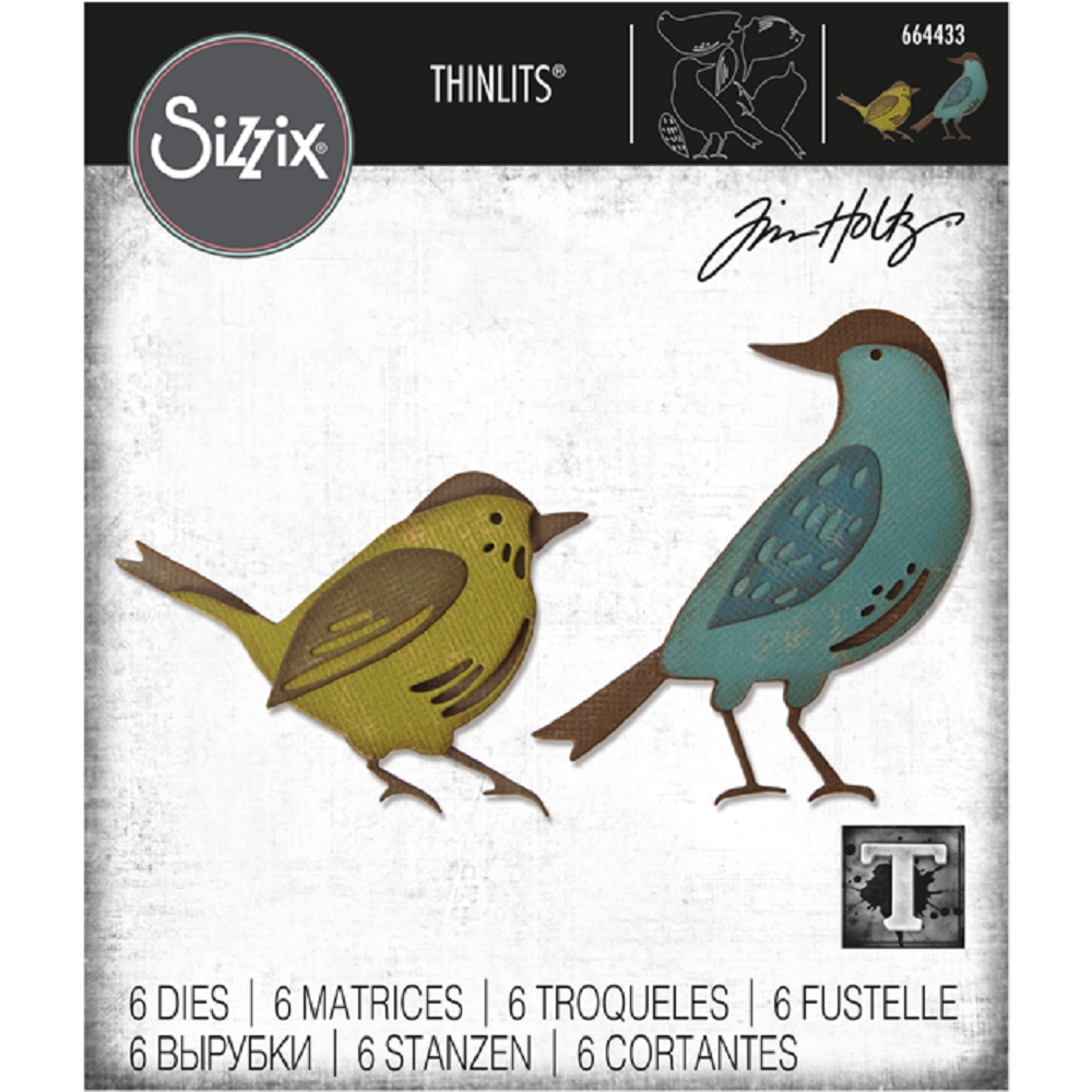 Tim Holtz Sizzix FEATHERED FRIENDS Thinlits Die 664433 zoom image