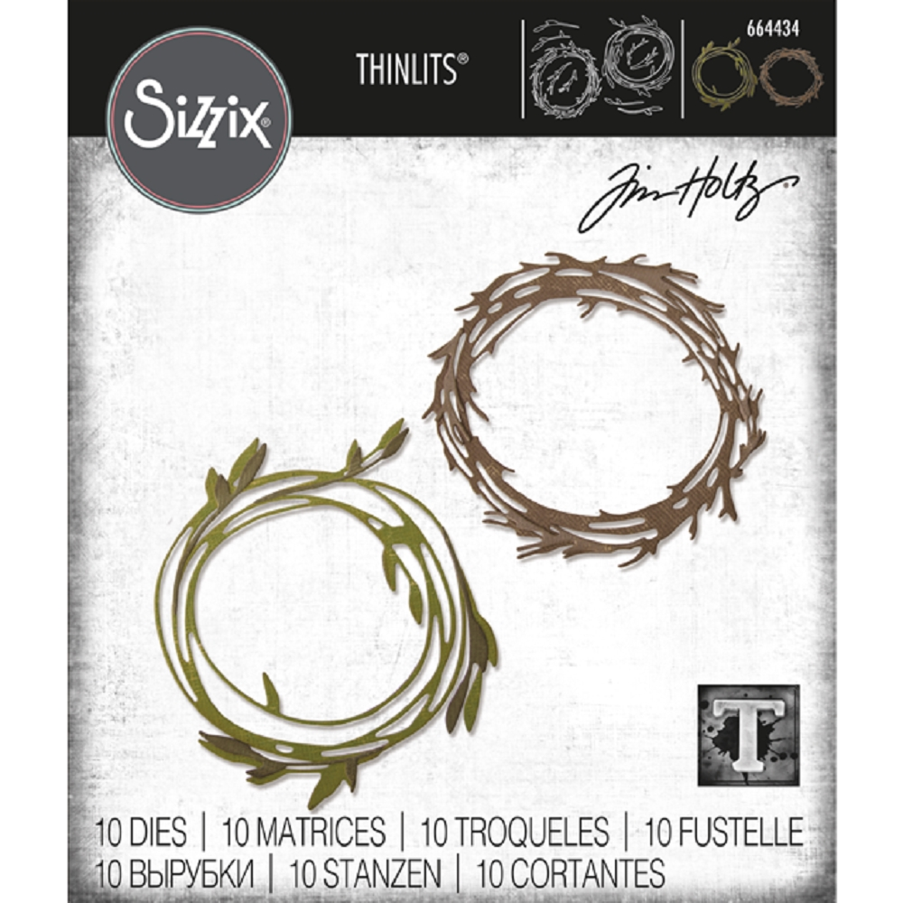 Tim Holtz Sizzix FUNKY WREATH Thinlits Die 664434 zoom image