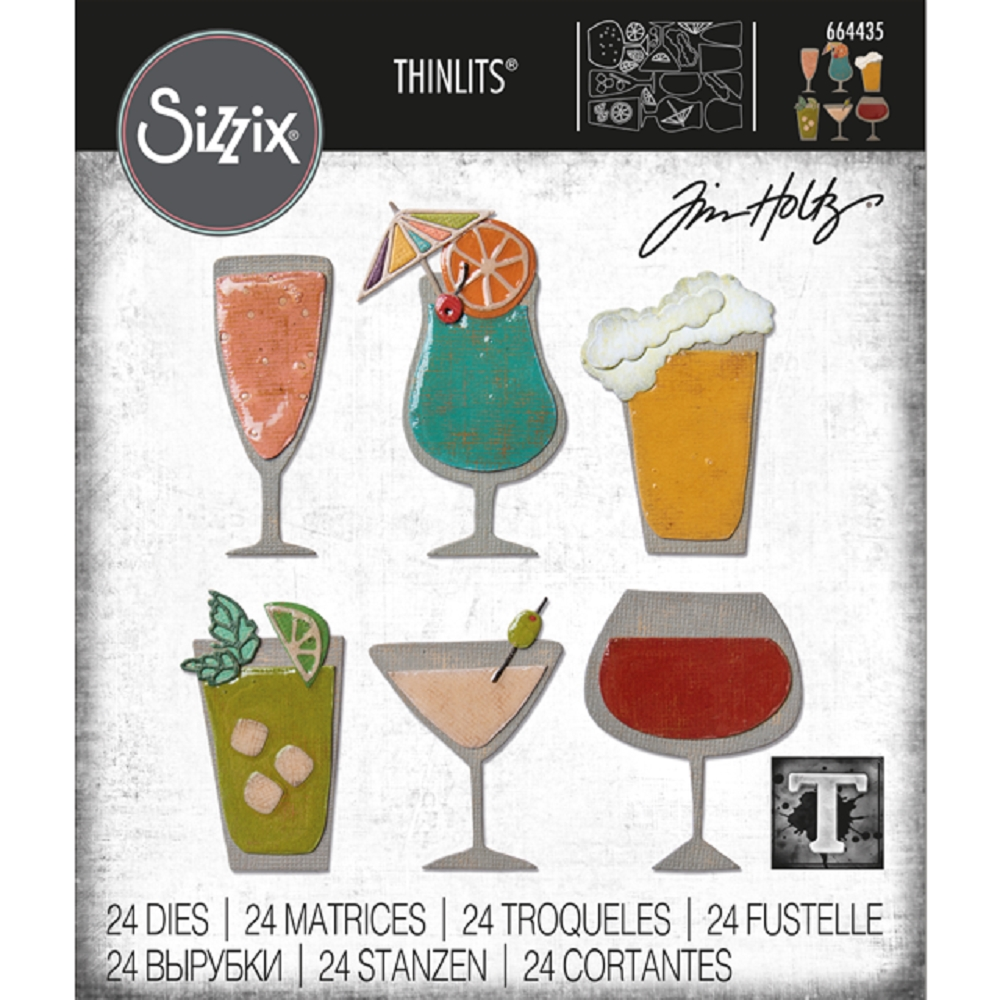 Tim Holtz Sizzix HAPPY HOUR Thinlits Die 664435 zoom image