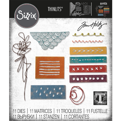 Tim Holtz Sizzix MEDIA MARKS Thinlits Die 664436 Preview Image