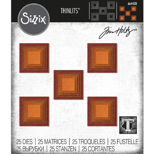 Tim Holtz Sizzix STACKED SQUARES Thinlits Die 664438 Preview Image