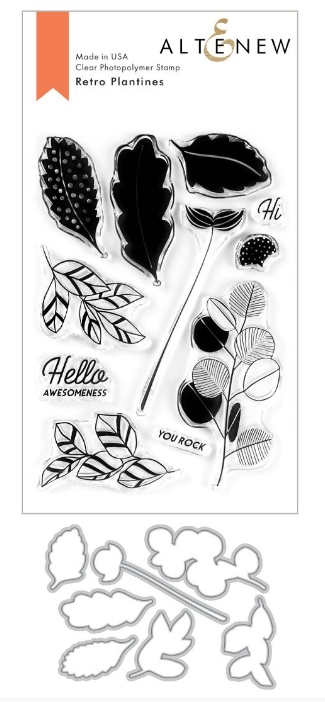Altenew RETRO PLANTINES Clear Stamp and Die Bundle ALT3769 zoom image