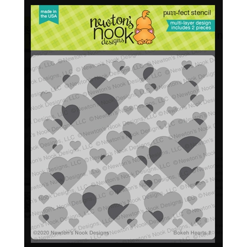 Newton's Nook Designs BOKEH HEARTS Stencils NN2001T01 Preview Image