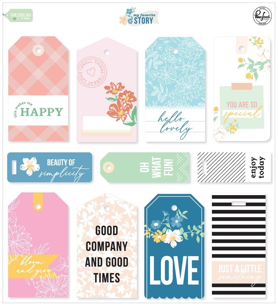 PinkFresh Studio MY FAVORITE STORY Cardstock Tags pfrc100620 zoom image