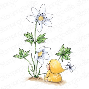 Stamping Bella Cling Stamp BUNDLE GIRL WITH A WOOD ANEMONE eb913