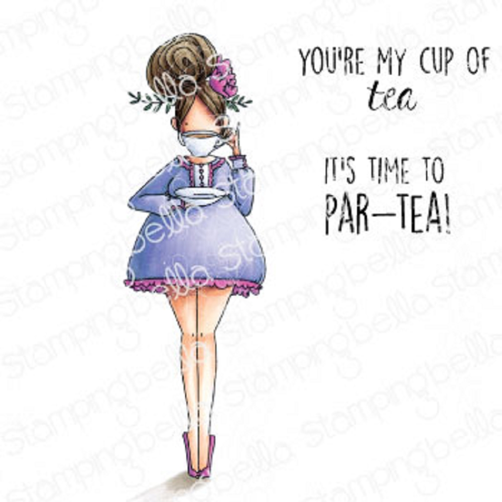 Stamping Bella Cling Stamps CURVY GIRL LOVES TEA eb923 zoom image