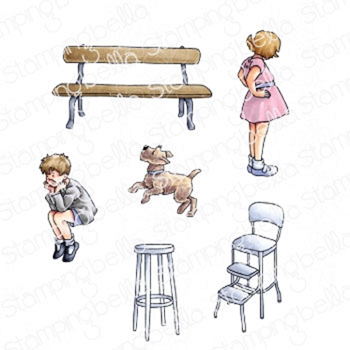 Stamping Bella Cling Stamps EDGAR AND MOLLY'S VINTAGE BENCH SET eb928