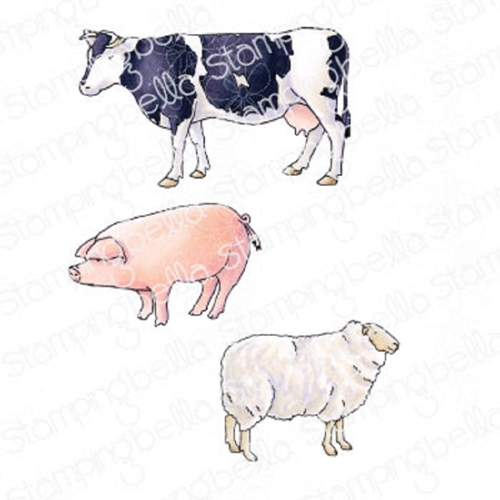 Stamping Bella Cling Stamps EDGAR AND MOLLY'S VINTAGE FARM ANIMALS eb930 Preview Image