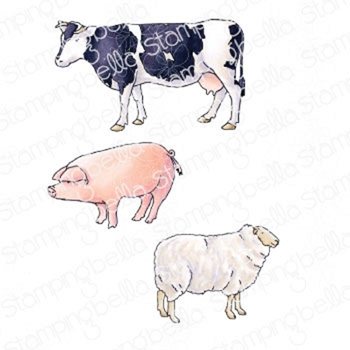 Stamping Bella Cling Stamps EDGAR AND MOLLY'S VINTAGE FARM ANIMALS eb930