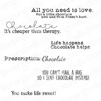 Stamping Bella Cling Stamps CHOCOLATE SENTIMENT SET eb939