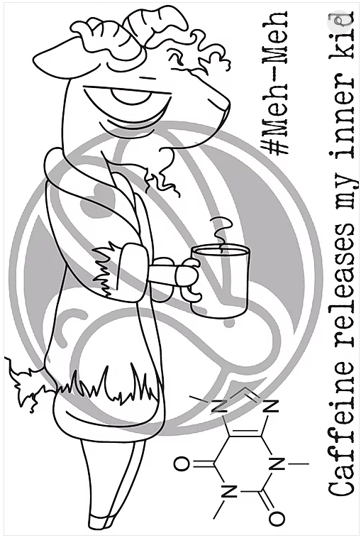The Rabbit Hole Designs CAFFEINATED GOAT Clear Stamps TRH-53 zoom image