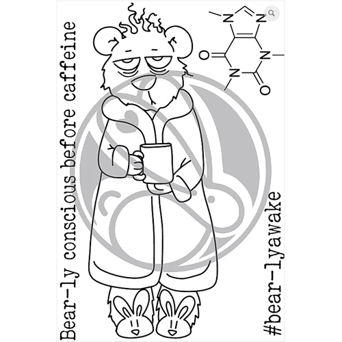 The Rabbit Hole Designs CAFFEINATED BEAR Clear Stamps TRH-51 Preview Image