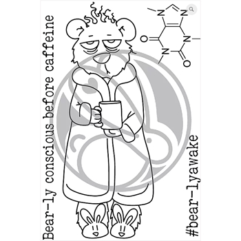 The Rabbit Hole Designs CAFFEINATED BEAR Clear Stamps TRH 51*