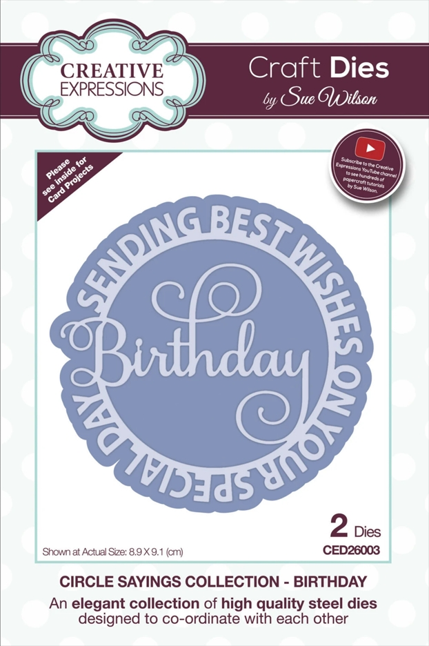 Creative Expressions BIRTHDAY Sue Wilson Circle Sayings Dies ced26003 zoom image