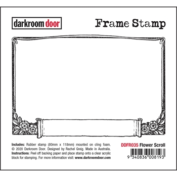 Darkroom Door Cling Stamp FLOWER SCROLL Frame ddfr035