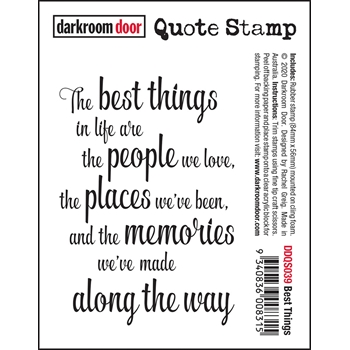 Darkroom Door Cling Stamp BEST THINGS Quote ddqs039
