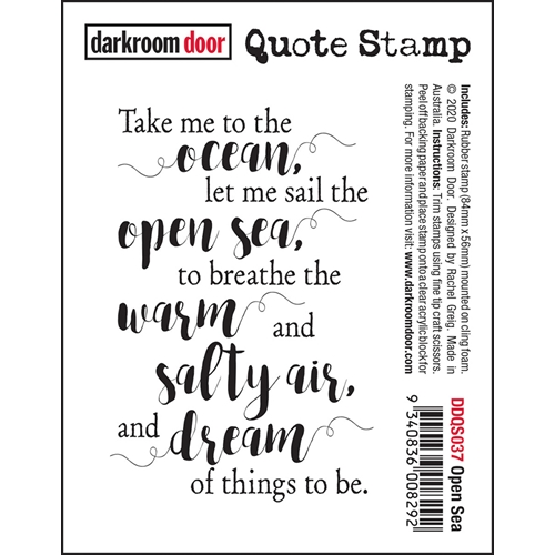 Darkroom Door Cling Stamp OPEN SEA Quote ddqs037 Preview Image