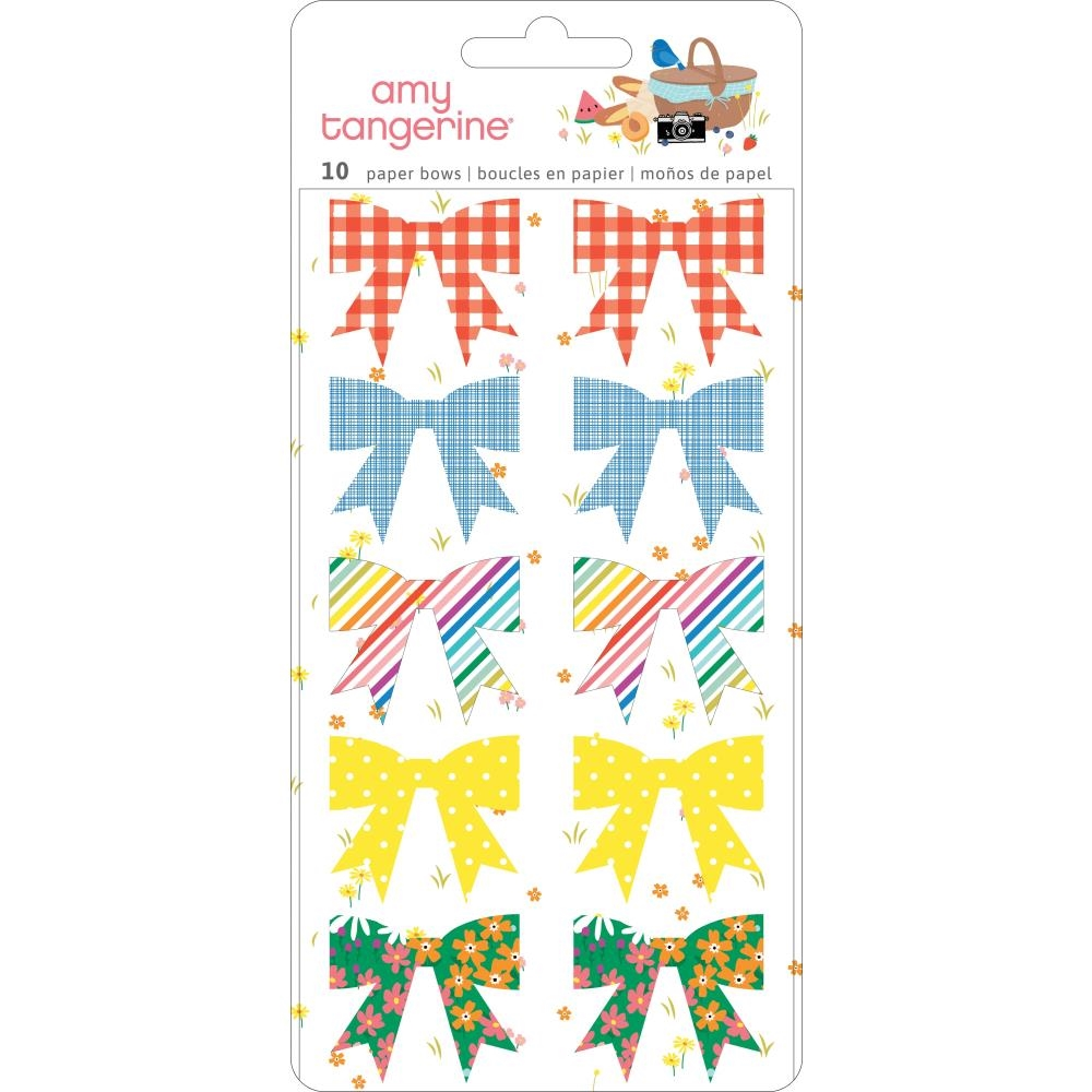 American Crafts Amy Tangerine PAPER BOWS STICKERS Picnic In The Park 355381 zoom image