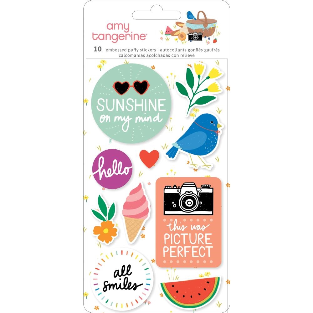 American Crafts Amy Tangerine EMBOSSED PUFFY STICKERS Picnic In The Park 355375 zoom image