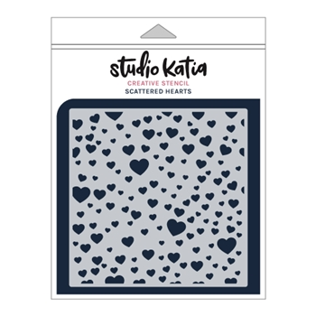 Studio Katia SCATTERED HEARTS Stencil sks026
