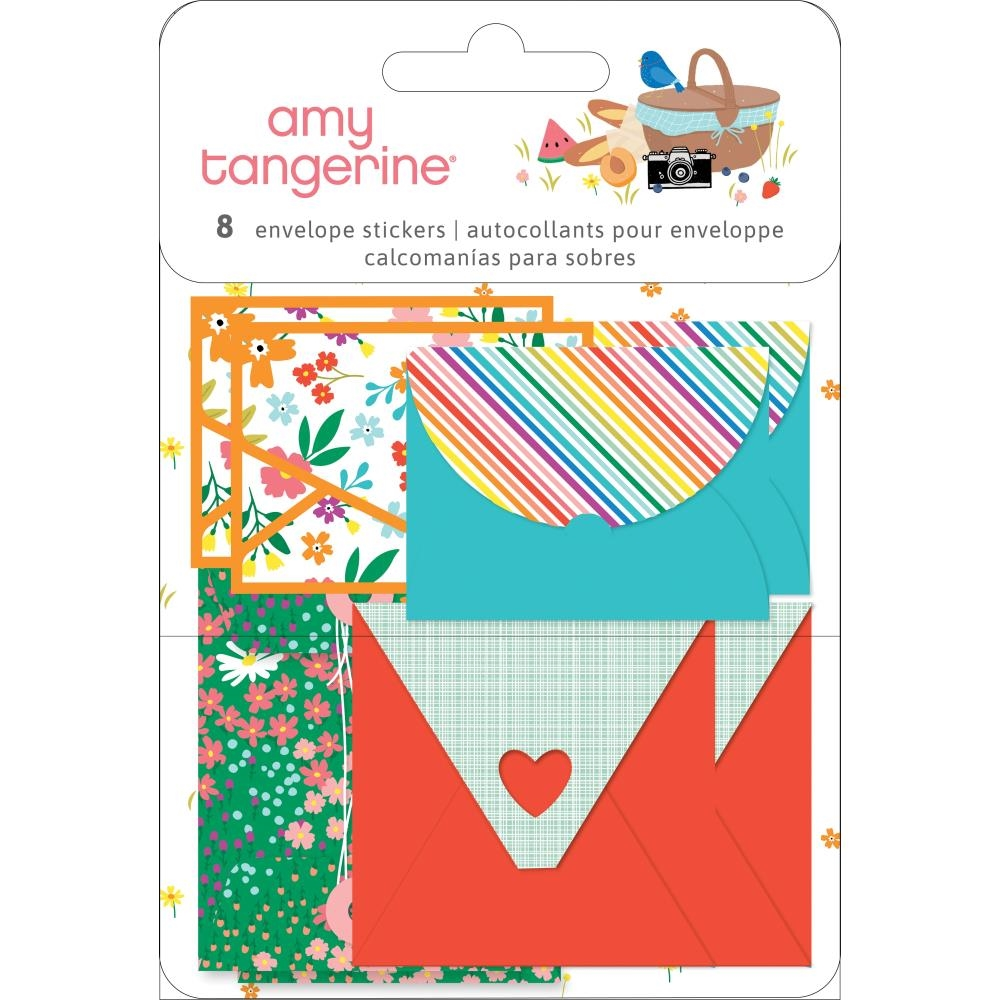 American Crafts Amy Tangerine ENVELOPE STICKERS Picnic In The Park 355380 zoom image
