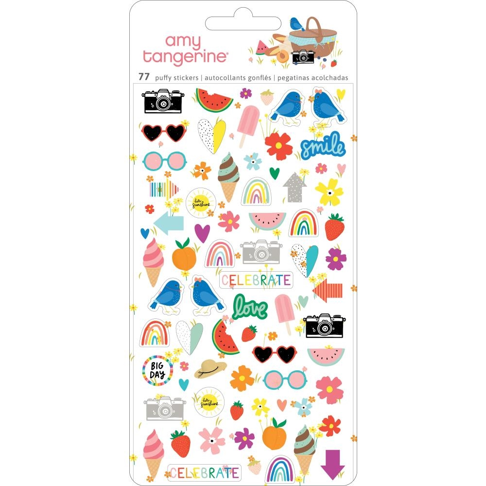 American Crafts Amy Tangerine MINI PUFFY STICKERS Picnic In The Park 355376 zoom image
