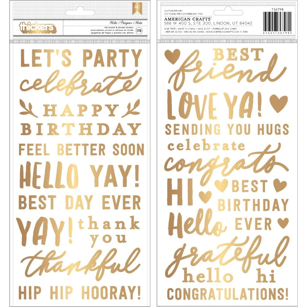 Pebbles Inc. Jen Hadfield HEY HELLO Thickers Stickers 736798 zoom image