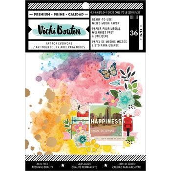 American Crafts Vicki Boutin Let's Wander MIXED MEDIA BACKGROUND 6 x 8 PAPER PAD 354223
