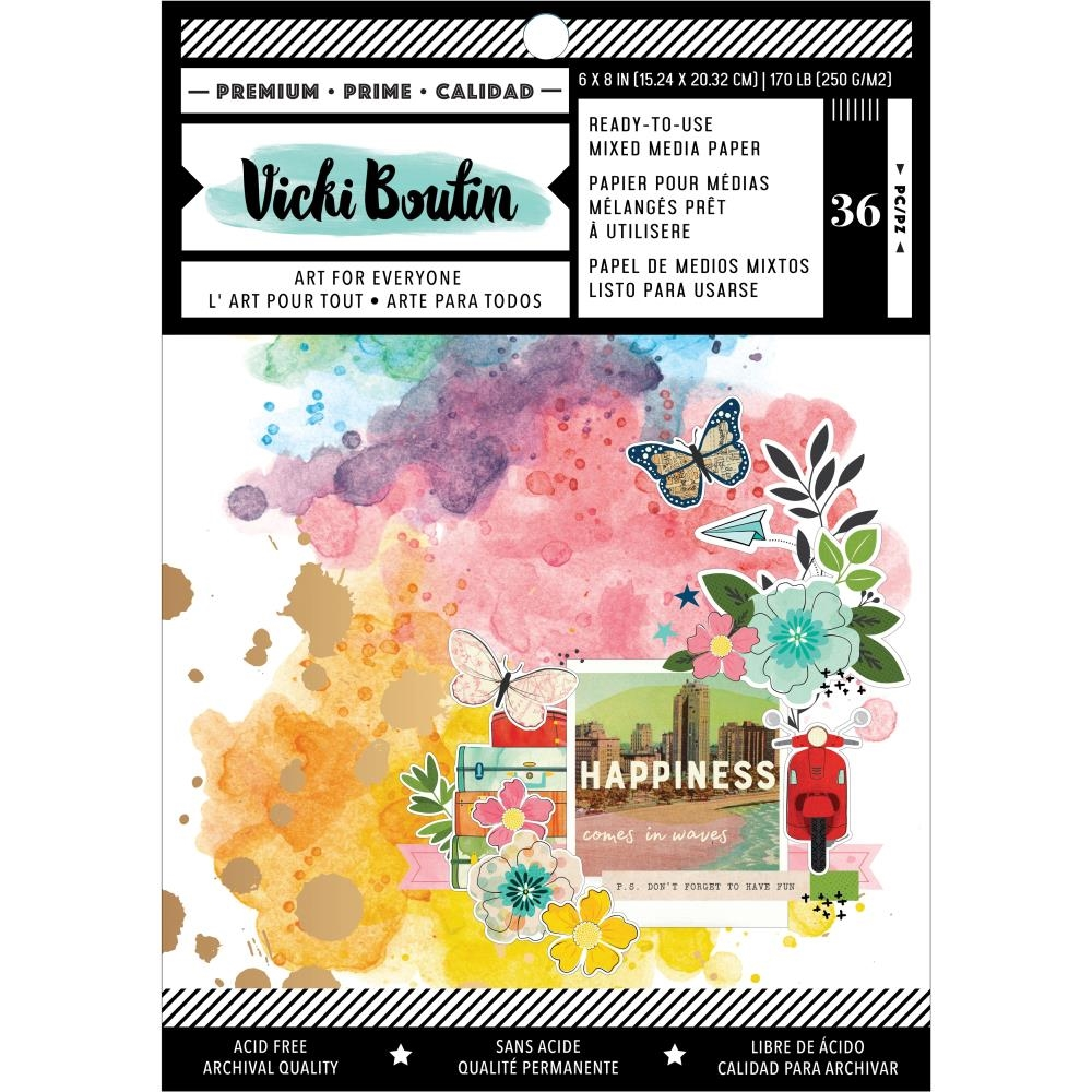 American Crafts Vicki Boutin Let's Wander MIXED MEDIA BACKGROUND 6 x 8 PAPER PAD 354223  zoom image