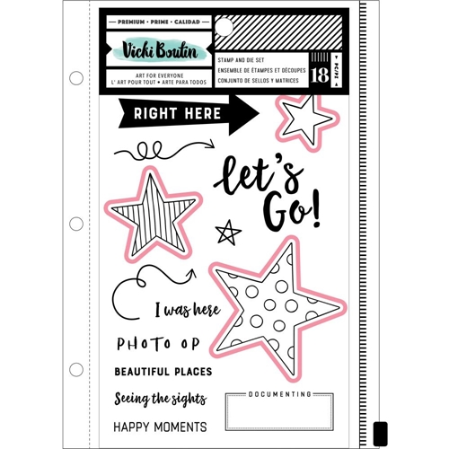 American Crafts Vicki Boutin Let's Wander CLEAR STAMP AND DIE SET 352261 Preview Image