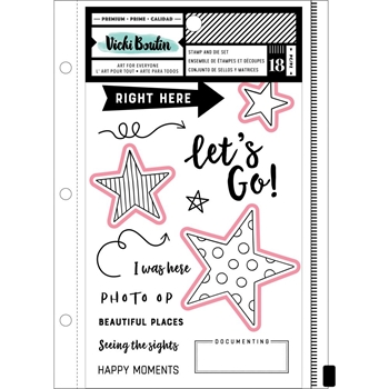 American Crafts Vicki Boutin Let's Wander CLEAR STAMP AND DIE SET 352261
