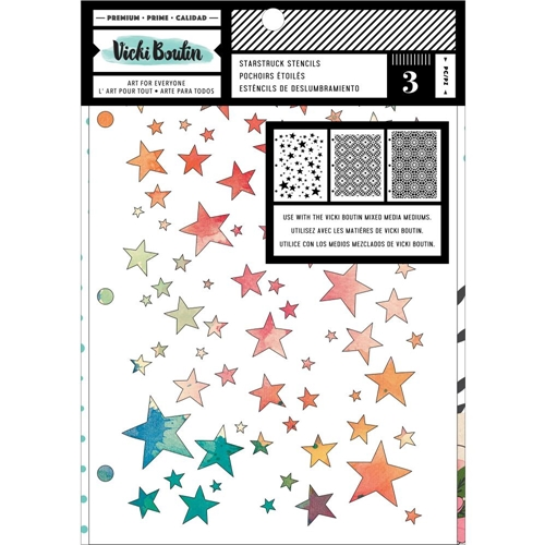 American Crafts Vicki Boutin Let's Wander Mixed Media STARSTRUCK STENCILS 354112 Preview Image
