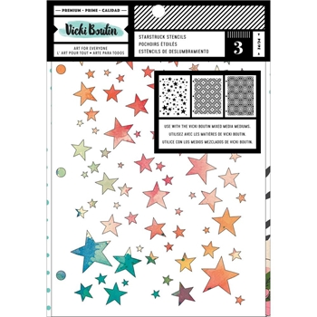 American Crafts Vicki Boutin Let's Wander Mixed Media STARSTRUCK STENCILS 354112
