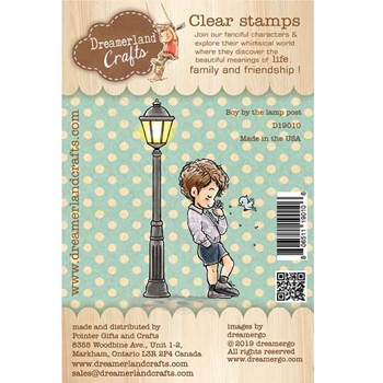 Dreamerland Crafts BOY BY THE LAMP POST Clear Stamp Set d19010