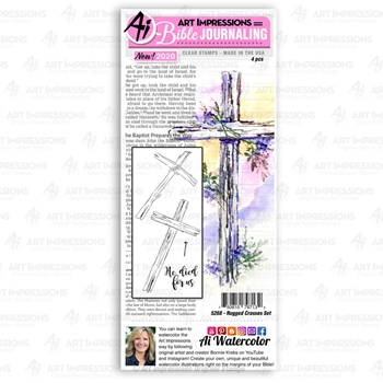 Art Impressions Watercolor RUGGED CROSSES SET Clear Stamps Bible Journaling 5268