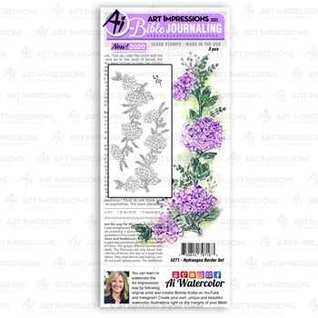 Art Impressions Watercolor HYDRANGEA BORDER SET Clear Stamps Bible Journaling 5271