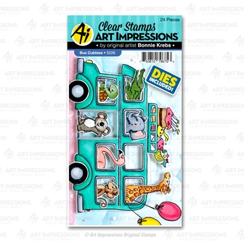 Art Impressions BUS CUBBIES Clear Stamps and Dies 5226
