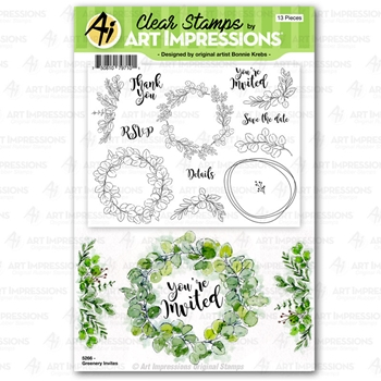 Art Impressions GREENERY INVITES Clear Stamps 5266