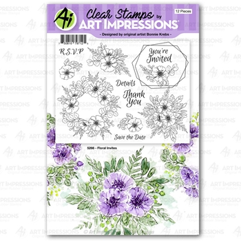 Art Impressions FLORAL INVITES Clear Stamps 5267